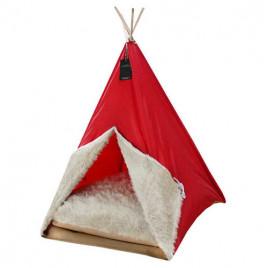 Büyük Kedi-Köpek Çadırı Kırmızı 60x60x80 CM