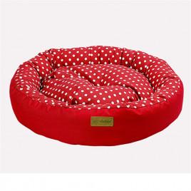 Tarte Yuvarlak Yatak Vr01 Kırmızı Benekli Medıum 65x15 Cm