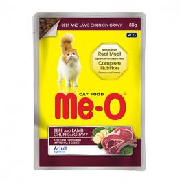 Me-O 80 gr Adult Beef & Lamb Chunk in Gravy