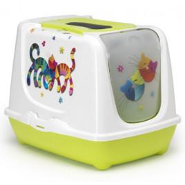 Trendy Kapalı Kedi Tuvaleti Yeşil 39,5x50x37,5 Cm