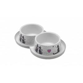 Trendy Love İkili Kedi Mama Kabı 2x350 Ml