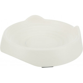 Kedi Mama ve Su Kabı Kedi Kafası Şeklinde Melamin 0,25 Lt / 17 Cm Beyaz