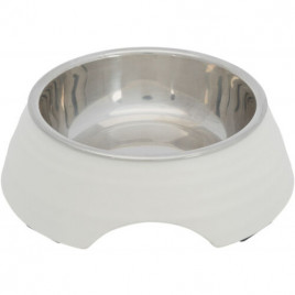 Köpek Mama ve Su Kabı Melamin/Paslanmaz Çelik 0,2lt / 14 Cm Beyaz