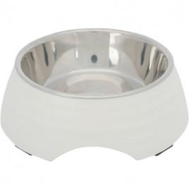 Köpek Mama ve Su Kabı Melamin/Paslanmaz Çelik 0,4lt / 17 Cm Beyaz