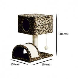 Leopar Desenli Yuvalı Kedi Tırmalama 30x30x40 Cm